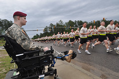 A Warrior's Return: wounded Paratrooper reunited with his unit (The U.S. Army) Tags: iraq running run deployment injured fortbragg soliders woundedwarrior 82ndairbornedivision 2ndbrigadecombatteam allamericanweek 325thairborneinfantryregiment
