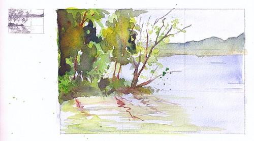 Steve Penberthy - Watercolor Landscape Sketch :: Lake 1