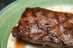 Peppery beef marinaded flat iron steak