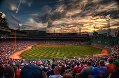 Fenway Park (Werner Kunz) Tags: world city trip travel blue vacation sky usa cloud sun white holiday green boston clouds america photoshop ma lights us nikon unitedstates audience baseball stadium massachusetts urlaub north cyan redsox newengland himmel wolken wideangle american northamerica strike 100 40 fans fenway blau amerika pitcher sonne weiss base dri hdr hdri wer