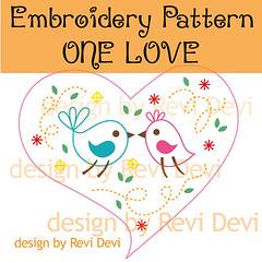 One Love (revi1001) Tags: love birds birdie fun pattern embroidery etsy lovebird revidevi