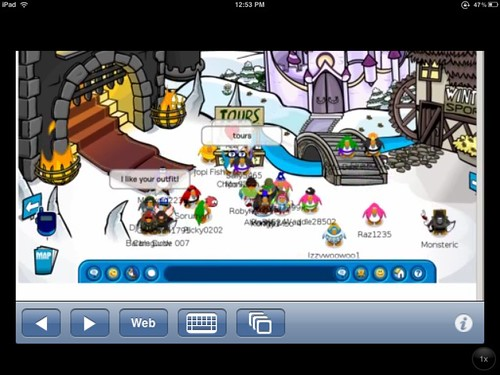 Club Penguin on an iPad running via Cloud Browse