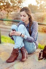 Pick Up The Phone. (A U D E) Tags: sunset red sunlight vintage pose hair skinny hands blackberry boots gorgeous c lips retro indie stunning bb deviantart aude carmen mouvement texting greentable krmenxa lookbooknu