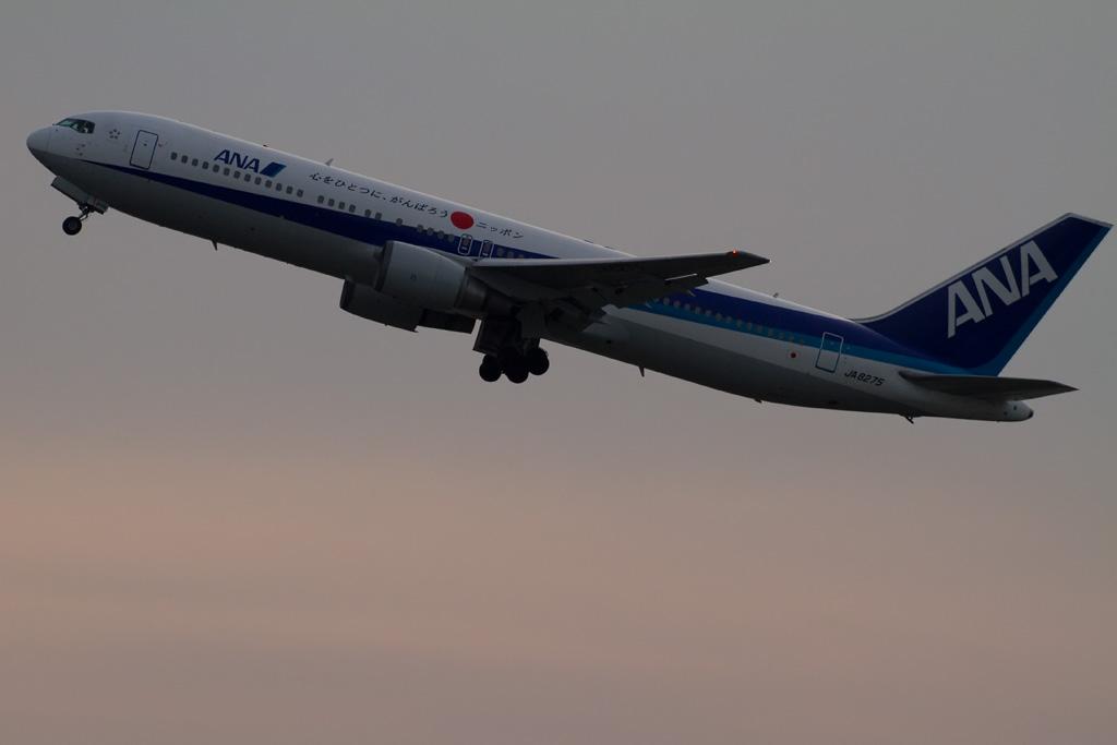 """ANA's """"Ganbarou Nippon"""" Jet at dusk"""