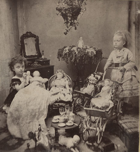 Two Little Girls with Dolls and Toys - c. 1870s