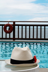 buzzin´ (Thabata Guerra) Tags: summer brazil sky sun praia beach pool hat rose brasil clouds swimming de hotel rosa os piscina gale vila santos bahia salvador vermelha bóia todos chapéu colourartaward