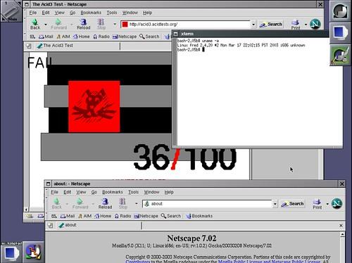 36/100 pour Netscape 7.0.2 au test acid3 avec la Slackware Linux 9.0