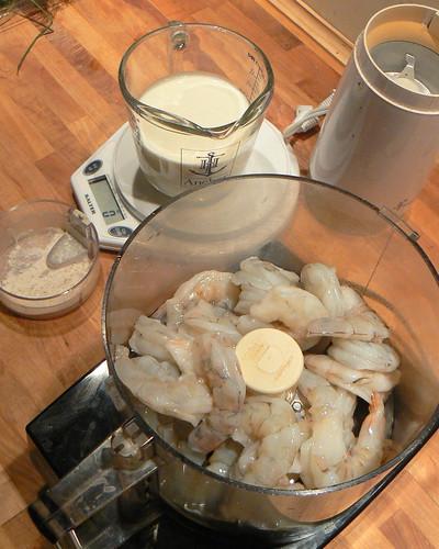 Mise en place, seafood sausage