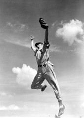 Outfielder Elson Konzen grabs a high one at Baseball School: Tampa, Florida