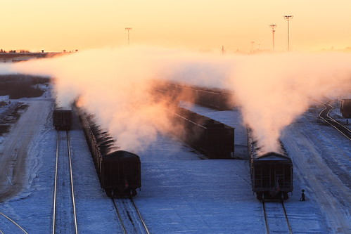 Three Steaming Ore Trains