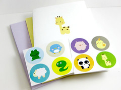 Animal Kingdom Card Sticker Set (MAUstudio) Tags: cute bird animal penguin pig panda sheep snake character frog card kawaii stationery greeting giraffee coloful