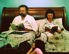 bed time story! :p (M.LQtr) Tags: street sleeping summer woman canada man girl night painting reading book kid bed funny time sister sleep montreal picture oldman mona story acting oldwoman haha 2008 ml     mlqtr p p p