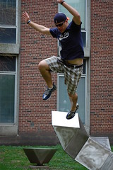 Andy decided to use the satue as a launch pad (Johnny Heger) Tags: college campus illinois spring universityofillinois urbana champaign uofi chipsi
