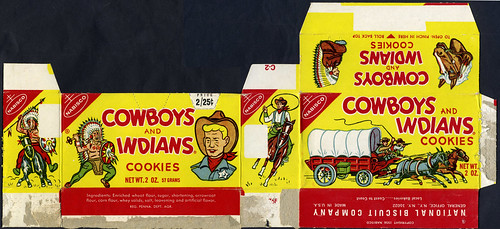 Nabisco Cowboys and Indians Cookies box - Pre-1971 Version