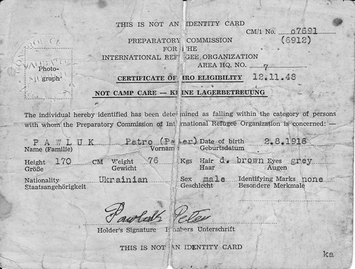 Peter Pawluk Refugee certificate of eligibility