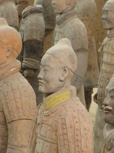 Terracotta warrior with some colour on his collar
