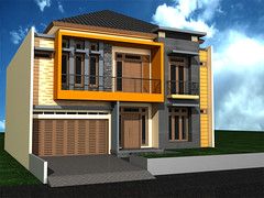 Tampak Depan Rumah Minimalis 2 Lantai di Pondok Kelapa by Indograha  Arsitama Desain & Build
