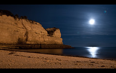 Reel in the moon (c@rljones) Tags: ocean longexposure sea summer moon holiday beach portugal water night dark boat fishing fisherman sand cove cliffs shore moonlight algarve d300 porches httpwwwrljonescouk