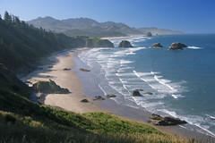 "Crescent Beach at Ecola State Park, Oregon Coast (early morning) (IronRodArt - Royce Bair (""Star Shooter"")) Tags: ocean park morning blue mist green beach nature ecology rain rock oregon forest canon landscape coast sand waves state sandy scenic environmental tranquility wave system crescent haystack cannon environment coastline crescentbeach oregoncoast sitka eco spruce ecola ecosystem ecolastatepark primitive peacefultranquil doublyniceshot"
