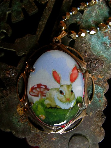 Green Bunny Necklace with Beaded Chain