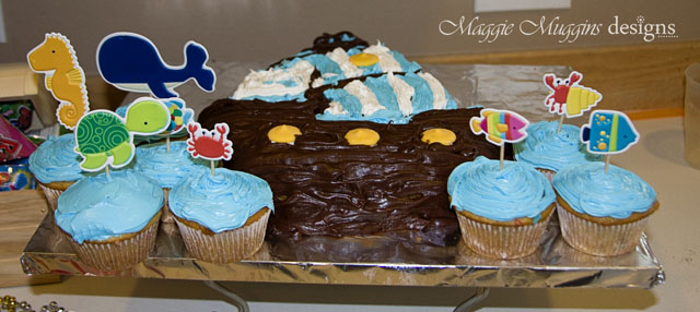 Sea Animal Cupcakes and Pirate Ship Cake