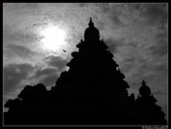 ShoreTemple Backlit (rohini_kamath) Tags: copyright india tourism monochrome temple shore chennai tamilnadu mahabalipuram rohini enchanting kamath ifornature rohinikamath