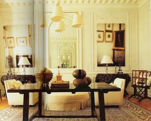 White living room + wood + modern art: Design by Mariette Himes Gomez