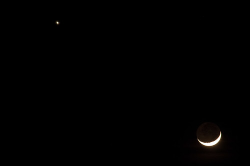 Moon and Venus, close up.