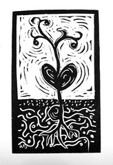 seedling print (Alynn Guerra) Tags: street blackandwhite art fountain print michigan seed guerra grand exhibit rapids seeds printmaking blockprint seedling alynn sembrar grandrapidsfountainstreetchurchkeelergalleryseedsalynnguerraexhibitartopeninggrandrapids