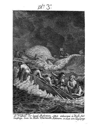 001-El barco en que zarpa  Robinson naufrafa en Yarmouth