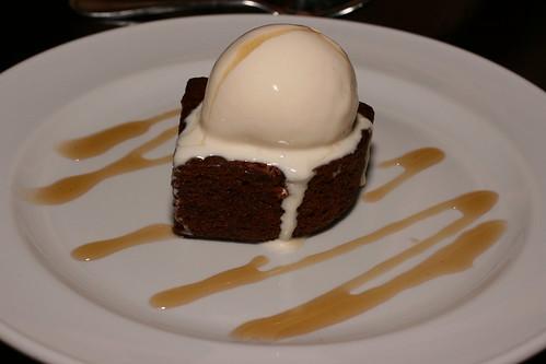 banana cake with vanilla ice cream and honey