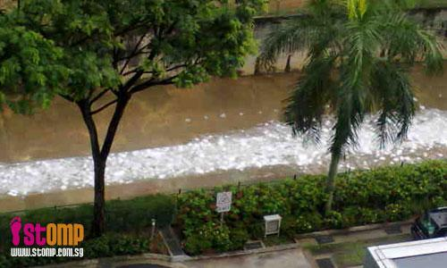 Foam river in Toa Payoh North Canal