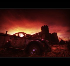 2CV - RUPERRA CASTLE (Wiffsmiff23) Tags: castle french fire flames spooky 2cv wreck wreckage fiery ruperra ruperracastle