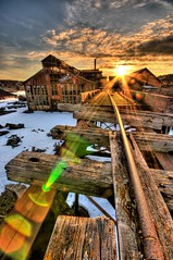 Quincy Smelter (T-mo Supremo) Tags: sunset sky snow history abandoned spring nikon decay michigan sigma wideangle mining upper 1020mm hdr smelter d300