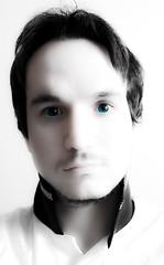 I wish I had blue eyes (day 20/365) (guto/mario...) Tags: blue portrait selfportrait me umbrella photoshop myself eyes fake mario days whitebackdrop 365 lightroom cs4 cameraraw speedlite 365days strobist canon40d sigmaef530dgsuper