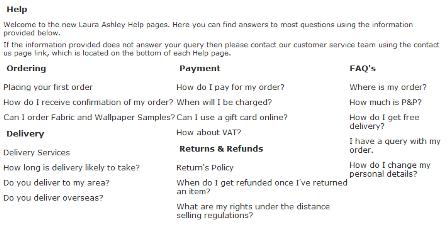 Laura Ashley FAQs
