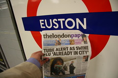 'Euston we have a problem (ian_fromblighty) Tags: city uk london underground metro tube problem headlines swine euston flu sneeze oink tabloid cough pandemic scaremongering sensationalism swineflu londonpaper notapollo13