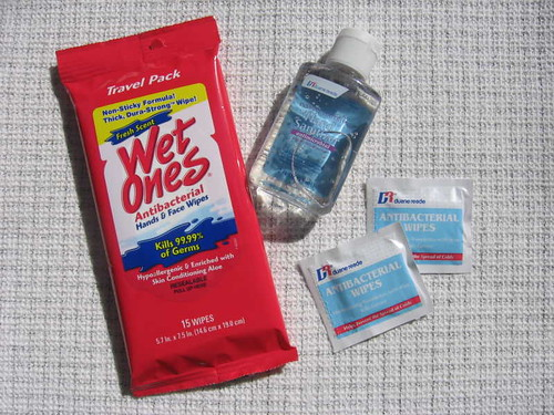 Hand wipes and sanitizer