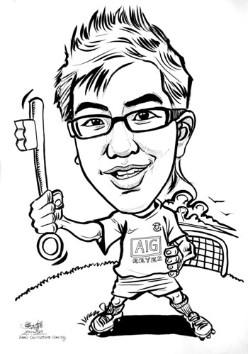 Caricature 21st birthday key in ink and brush