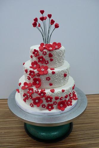White Red Flowers and Swirls Mini Wedding Cake 2