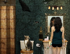 Bathroom ( Ginny Le ) Tags: selfportrait girl cat self movie poster bathroom skull mirror grunge curtain toilet horror unborn ginnyle