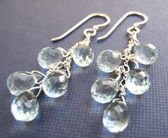 Neptune's Tears Earrings, Sterling Silver (Tissage) Tags: blue sky water glass aqua handmade jewelry faceted earrings teardrop qu