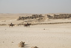 Horse riders in the Pyramid plateau (future15pic) Tags: africa travel vacation history sphinx museum architecture temple ancient rocks desert may egypt cairo massive egyptian pyramids archeology 2009 giza khufu pharoh menkaure kharfre