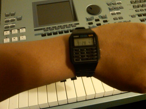 my new calculator watch taken by my new phone with a crappy camera...