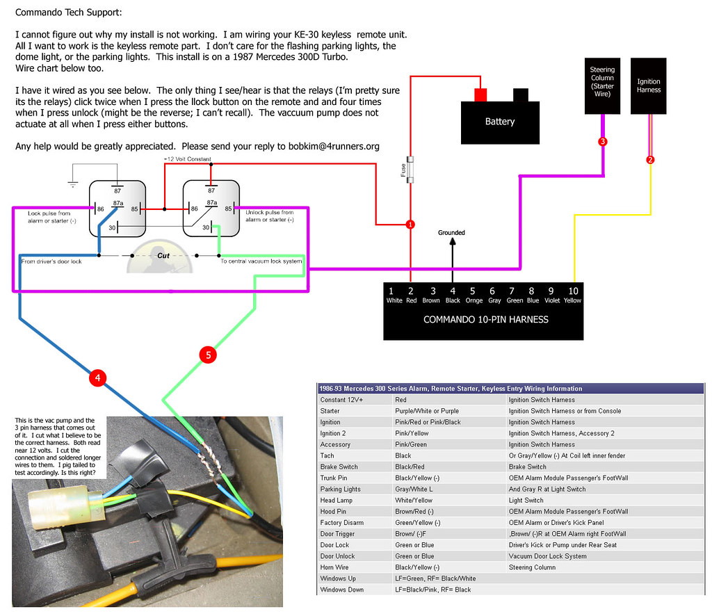 Keyless Entry W124 Page 2 Peachparts Mercedes Benz Forum 300d Vacuum Wiring Diagram Also The Manual Calls For Hooking Up Starter Wire To Relay 1 Pin 86 And 85 It Is This Below