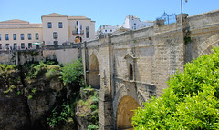 Ronda's Old Bridge (cwgoodroe) Tags: summer costa white hot sol beach del bells spain ancient europe churches sunny bull bullfighter adobe ronda moors walls washed clothesline protective newbridge roda bullring stonebridge oldbridge spainish whitehilltown rondah spanishdoors