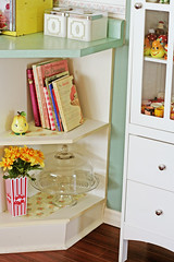 Counter End Shelves (boopsie.daisy) Tags: blue kitchen yellow cake vintage recipe cabinet books pear shelves holder curio