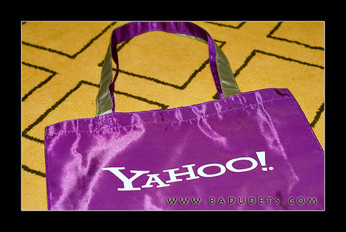 purple Yahoo tote bag