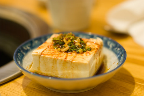 Tofu with soy sauce and green onions