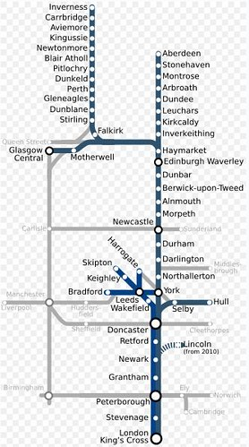 Map of the UK's East Coast Mainline